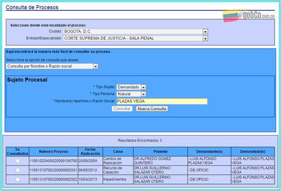 Consulta de Procesos Judiciales - Rama Judicial 1