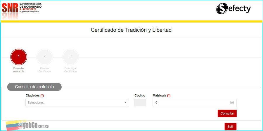 Descarga certificado libertad y tradicion con PIN