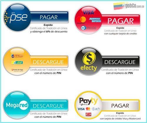 metodos de pago para sacar certificado tradicion y libertad