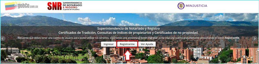 Alta usuario superintendencia de notariado y registro para descargar certificado de tradición y libertad