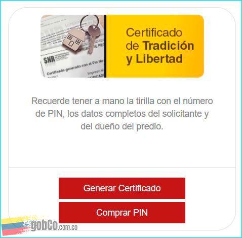 Comprar PIN en SNR para sacar certificado tradición y libertad